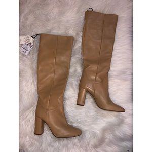 Zara NWT tan leather knee high boots